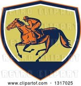Vector Clip Art of Retro Woodcut Horse Racing Jockey in an Orange, Navy Blue, White and Green Shield by Patrimonio