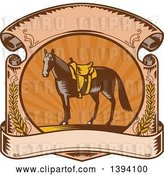 Vector Clip Art of Retro Woodcut Horse with a Western Saddle in a Sunset Scroll by Patrimonio