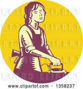 Vector Clip Art of Retro Woodcut House Wife or Maid Ironing Laundry in a Yellow and Purple Circle by Patrimonio