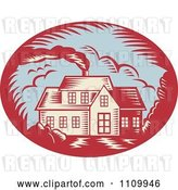Vector Clip Art of Retro Woodcut House with Smoke Rising from the Chimney by Patrimonio