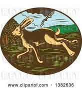 Vector Clip Art of Retro Woodcut Jackrabbit Running in an Oval by Patrimonio