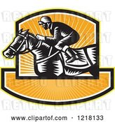 Vector Clip Art of Retro Woodcut Jockey on a Horse in a Shield of Orange Sunshine by Patrimonio