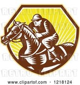 Vector Clip Art of Retro Woodcut Jockey on a Horse in a Shield of Sunshine by Patrimonio