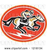 Vector Clip Art of Retro Woodcut Jockey on a Horse in an Oval by Patrimonio