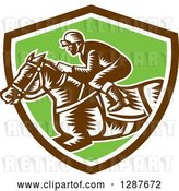 Vector Clip Art of Retro Woodcut Jockey Racing a Horse in a Brown White and Green Shield by Patrimonio