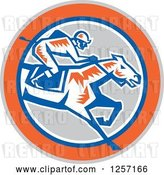 Vector Clip Art of Retro Woodcut Jockey Racing a Horse in a Gray Orange Blue and White Circle by Patrimonio