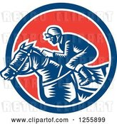 Vector Clip Art of Retro Woodcut Jockey Racing a Horse in a Red White and Blue Circle by Patrimonio