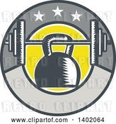 Vector Clip Art of Retro Woodcut Kettlebell Hanging on a Barbell in a Circle with Stars by Patrimonio