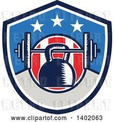 Vector Clip Art of Retro Woodcut Kettlebell Hanging on a Barbell in an American Shield by Patrimonio