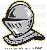 Vector Clip Art of Retro Woodcut Knight Helmet Outlined in Tan by Patrimonio