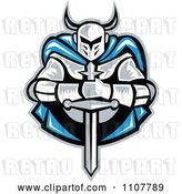 Vector Clip Art of Retro Woodcut Knight Holding a Sword and Wearing a Blue Cape by Patrimonio