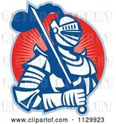 Vector Clip Art of Retro Woodcut Knight in Armour over a Red Circle by Patrimonio