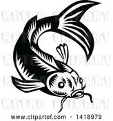 Vector Clip Art of Retro Woodcut Koi Carp Fish by Patrimonio