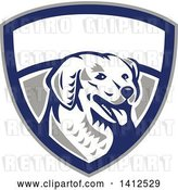 Vector Clip Art of Retro Woodcut Kuvasz Dog Head Panting in a Gray Blue and White Shield by Patrimonio