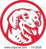 Vector Clip Art of Retro Woodcut Kuvasz Dog Head Panting in a Red and White Circle by Patrimonio