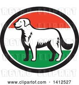 Vector Clip Art of Retro Woodcut Kuvasz Dog in a Hungary Flag Oval by Patrimonio