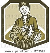 Vector Clip Art of Retro Woodcut Lady Holding a Basket of Harvest Foods and Bread by Patrimonio