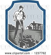 Vector Clip Art of Retro Woodcut Landscaper Mowing a Lawn near a House by Patrimonio