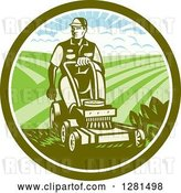 Vector Clip Art of Retro Woodcut Landscaper Mowing a Lawn with Farmland in a Green and White Circle by Patrimonio