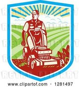 Vector Clip Art of Retro Woodcut Landscaper Mowing a Lawn with Farmland in a Shield by Patrimonio