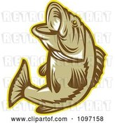 Vector Clip Art of Retro Woodcut Largemouth Bass Fish Jumping by Patrimonio