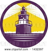 Vector Clip Art of Retro Woodcut Lighthouse with Lights Shining in a Purple, White and Yellow Circle by Patrimonio