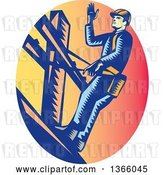 Vector Clip Art of Retro Woodcut Lineman on a Post, in a Sunset Oval by Patrimonio