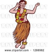 Vector Clip Art of Retro Woodcut Linocut Polynesian Hawaiian Hula Dancer by Patrimonio