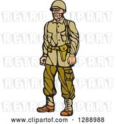 Vector Clip Art of Retro Woodcut Linocut World War Two Soldier in Uniform by Patrimonio