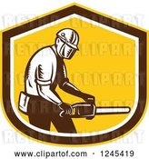 Vector Clip Art of Retro Woodcut Male Arborist Holding a Chainsaw in a Shield by Patrimonio