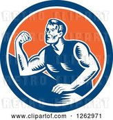 Vector Clip Art of Retro Woodcut Male Arm Wrestling Champion in a Blue White and Orange Circle by Patrimonio