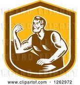 Vector Clip Art of Retro Woodcut Male Arm Wrestling Champion in a Yellow Brown and White Shield by Patrimonio