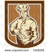 Vector Clip Art of Retro Woodcut Male Baker with a Mixing Bowl in a Crest by Patrimonio