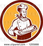 Vector Clip Art of Retro Woodcut Male Baker with Bread in a Circle by Patrimonio