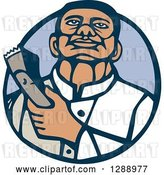 Vector Clip Art of Retro Woodcut Male Barber Holding Clippers in a Blue Circle by Patrimonio