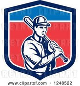 Vector Clip Art of Retro Woodcut Male Baseball Player and Bat in a Shield by Patrimonio