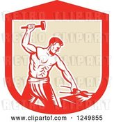 Vector Clip Art of Retro Woodcut Male Blacksmith Guy Hammering in a Shield by Patrimonio