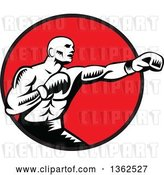 Vector Clip Art of Retro Woodcut Male Boxer Jabbing in a Red Circle by Patrimonio
