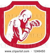 Vector Clip Art of Retro Woodcut Male Boxer Punching in a Shield by Patrimonio