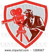 Vector Clip Art of Retro Woodcut Male Cameraman Working in a Red White and Gray Shield by Patrimonio