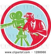 Vector Clip Art of Retro Woodcut Male Cameraman Working in a Red White and Pastel Blue Circle by Patrimonio