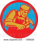 Vector Clip Art of Retro Woodcut Male Carpenter Worker Using a Hammer in a Red and Blue Circle by Patrimonio