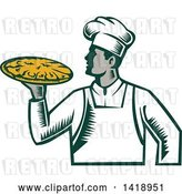 Vector Clip Art of Retro Woodcut Male Chef Holding a Pizza Pie by Patrimonio