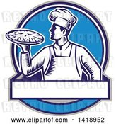Vector Clip Art of Retro Woodcut Male Chef Holding a Pizza Pie in a Blue Design by Patrimonio