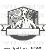 Vector Clip Art of Retro Woodcut Male Chef Holding a Pizza Pie in a Shield with a Moon and Palmetto Tree by Patrimonio