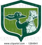 Vector Clip Art of Retro Woodcut Male Chef Holding Gelatin or Cake on a Platter in a Green and White Shield by Patrimonio