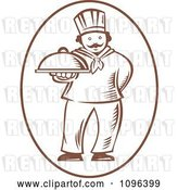 Vector Clip Art of Retro Woodcut Male Chef Holding out a Platter by Patrimonio