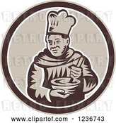 Vector Clip Art of Retro Woodcut Male Chef Mixing in a Circle by Patrimonio