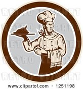 Vector Clip Art of Retro Woodcut Male Chef Serving a Roasted Chicken in a Gray and Brown Circle by Patrimonio