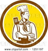 Vector Clip Art of Retro Woodcut Male Chef with a Spatula in a Brown and Yellow Circle by Patrimonio